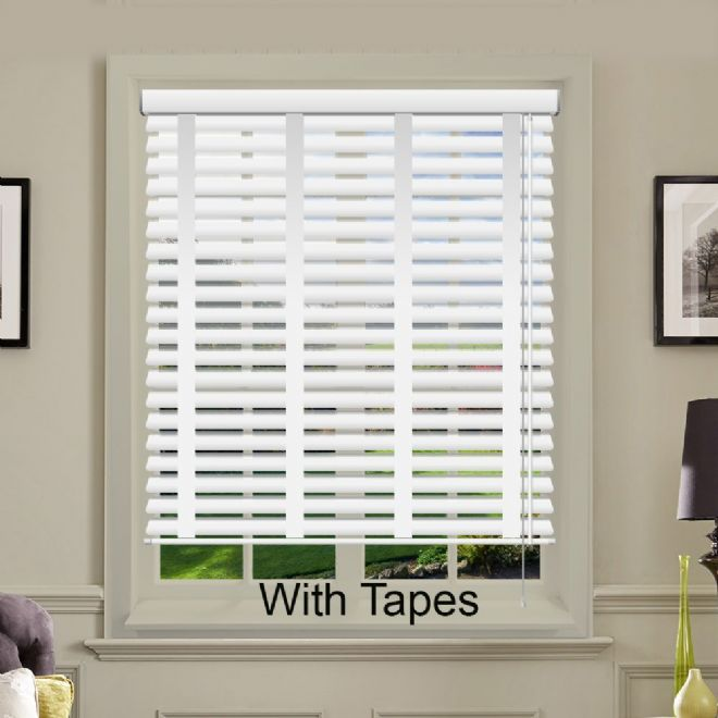 Cheapest White Faux Wood Venetian Blinds With Tapes - Just Blinds